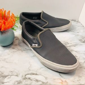 VANS GREY LEATHER PERFORATED SLIP ON SHOES